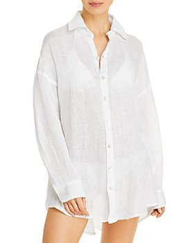 Vitamin A - Playa Linen Shirt Dress Swim Cover-Up