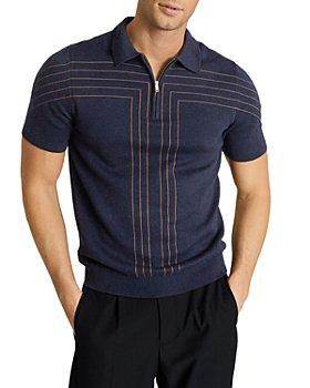 REISS - Kade Stripe Half Zip Polo