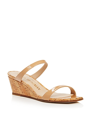 Stuart Weitzman WOMEN'S ALEENA SQUARE TOE LEATHER WEDGE SANDALS
