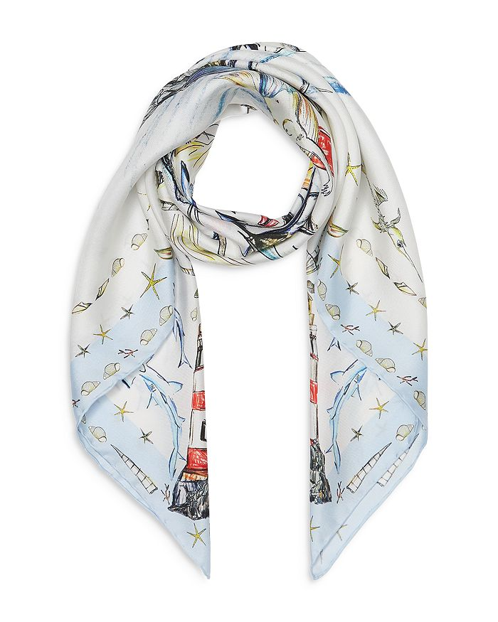 Burberry Scarves SILK MARINE SKETCH SCARF