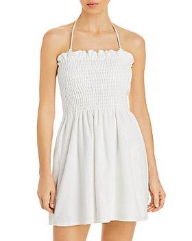 AQUA - Smocked Terrycloth Mini Dress Swim Coverup - 100% Exclusive