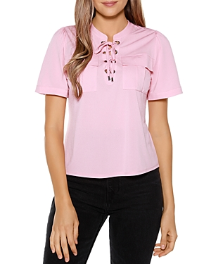 Lace Up Neck Top