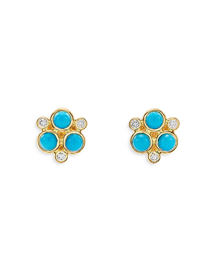 Temple St. Clair Earrings 18K YELLOW GOLD CLASSIC TRIO TURQUOISE & DIAMOND STUD EARRINGS