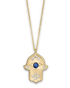 14k gold necklace bloomingdales meira t diamond hamsa and 14k yellow gold necklace 16 bloomingdales0 aloadofball Image collections