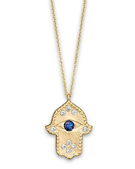 """Meira T - Diamond Hamsa and 14K Yellow Gold Necklace, 16"""""""