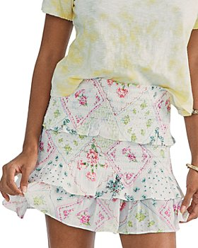LoveShackFancy - Sicily Smocked Mini Skirt