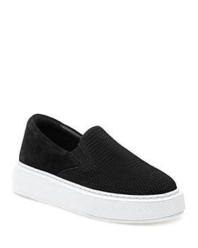 J/Slides - Women's Delia Perforated Nubuck Leather Slip On Platform Sneakers