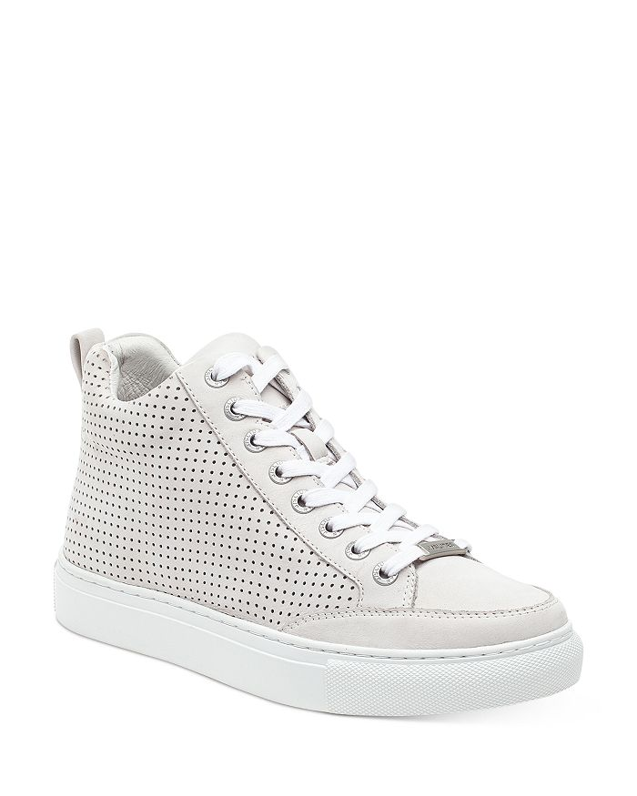 J/slides J/SLIDES WOMEN'S LUDLOW PERFORATED NUBUCK LEATHER HIGH TOP SNEAKERS