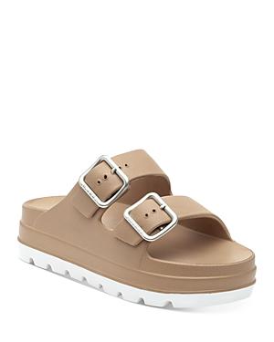 J/Slides Women's Simply Double Buckle Platform Slide Sandals