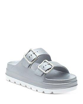 J/Slides - Women's Simply Double Buckle Platform Slide Sandals