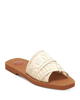 Chloé - Women's Woody Square Toe Lace Logo Slide Sandals