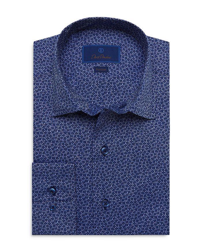 David Donahue Cottons BLUE MICRO PRINT FLORAL PRINT FUSION SHIRT