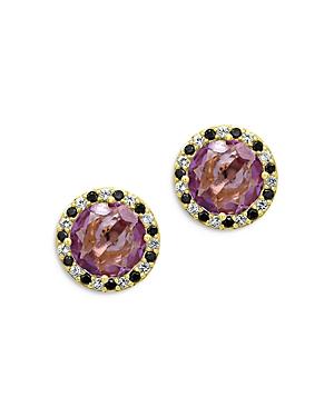 Bloomingdale's Amethyst, White Topaz & Spinel Stud Earrings in 14K Yellow Gold - 100% Exclusive
