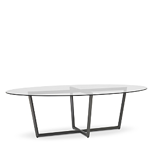 Mitchell Gold Bob Williams Furnitures MODERN OVAL TEMPERED GLASS DINING TABLE, 96 X 54