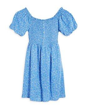 BCBG GIRLS - Girls' Puff Sleeve Printed Smocked Dress - Little Kid, Big Kid