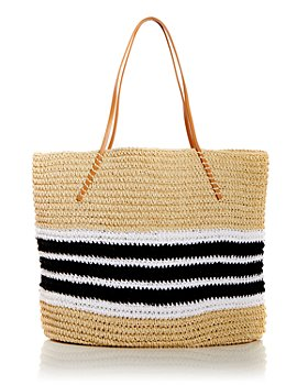 AQUA - Trio Striped Straw Tote