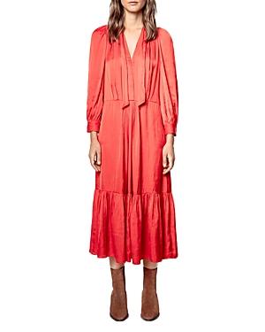 Zadig & Voltaire ROLAND TIE NECK SATIN DRESS