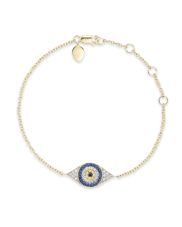 Meira t diamond sapphire and 14k yellow gold evil eye bracelet pdpimgshortdescription aloadofball Gallery