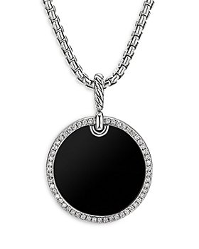 David Yurman - Sterling Silver DY Elements® Disc Pendant with Black Onyx & Diamonds