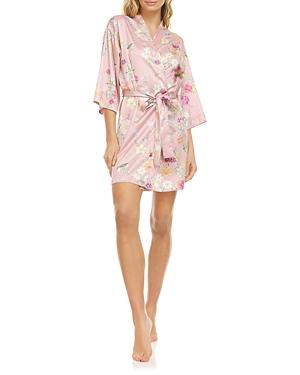 Gabrielle Printed Charmeuse Wrap Robe