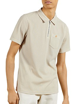 Ted Baker - Zip Placket Striped Polo Shirt