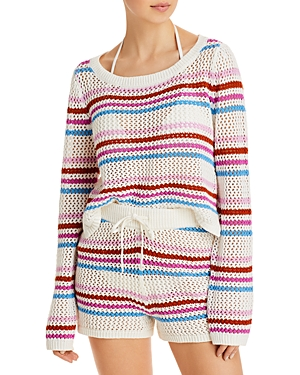 L*Space On The Horizon Striped Sweater Swim Cover-Up