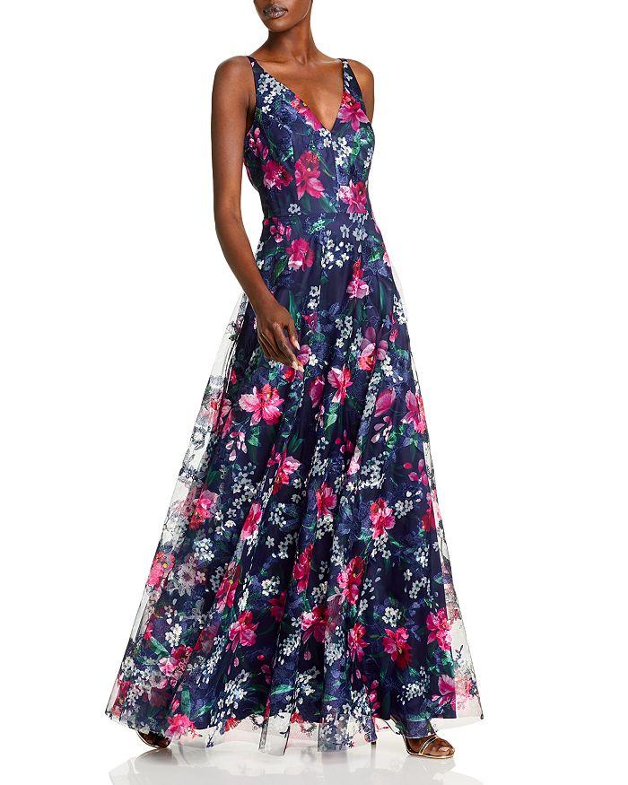 Eliza J - Flowing Floral V Neck A Line Gown