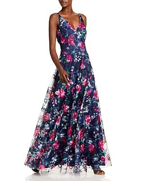 Flowing Floral V Neck A Line Gown