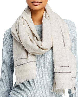 Aqua Fraas Striped Border Wool Scarf - 100% Exclusive