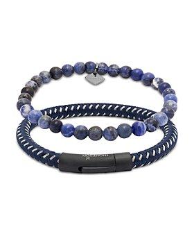 THOMPSON OF LONDON - Sodalite Bead & Braided Cord Bracelet Set, Medium