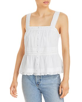 AQUA - Lace Trim Button Tank Top - 100% Exclusive