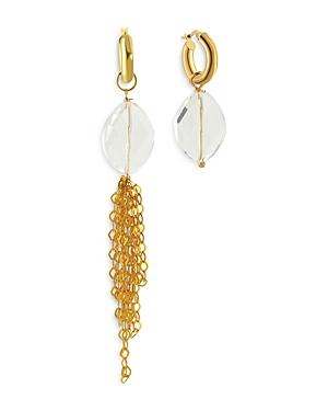 Nodar Crystal & Chain Tassel Hoop Mismatch Drop Earrings