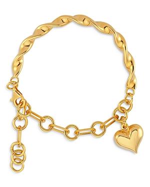 Hanah Heart Charm Link & Twist Flex Bracelet in 18K Gold Plated Sterling Silver