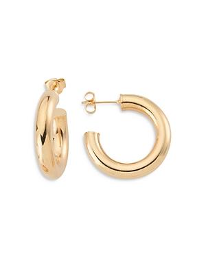 Bigger Donut Tubular Open Hoop Earrings in 18K Gold Plated Sterling Silver