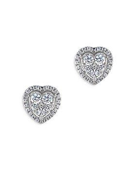 Bloomingdale's - Diamond Cluster Heart Stud Earrings in 14K White Gold, 1.0 ct. t.w. - 100% Exclusive