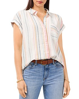 VINCE CAMUTO - Striped Short Sleeve Shirt