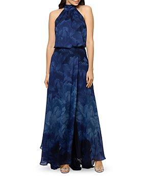 AQUA - Chiffon Print Halter Gown - 100% Exclusive