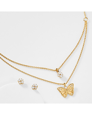 Nadri Cubic Zirconia Butterfly Layered Pendant Necklace & Stud Earrings Set
