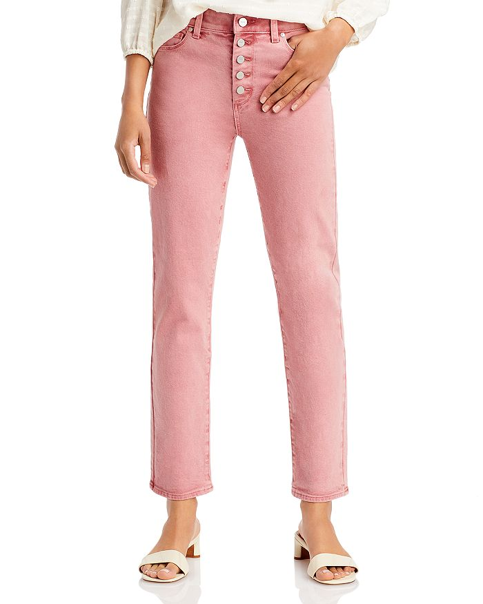 PAIGE - Cindy Straight Button Fly Jeans in Soft Vintage Rose