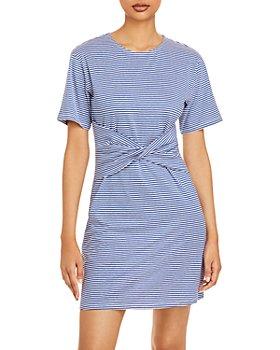 Theory - Front Twist Striped T-Shirt Dress