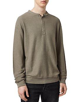 ALLSAINTS - Wrenley Cotton Waffle Knit Oversized Fit Henley Sweater