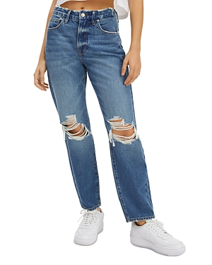 Good American Good Vintage Straight Ripped Jeans in Blue691