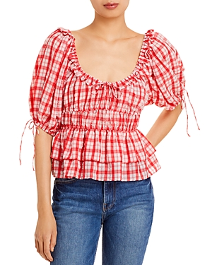 Square Neck Puff Sleeve Plaid Top