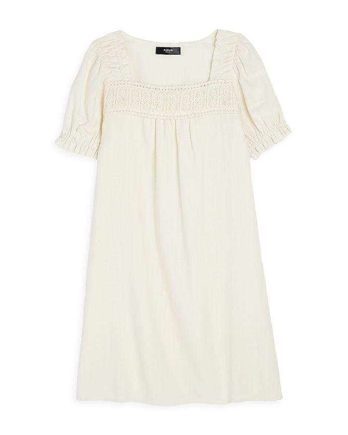 AQUA - Girls' Crocheted Inset Shift Dress, Big Kid - 100% Exclusive