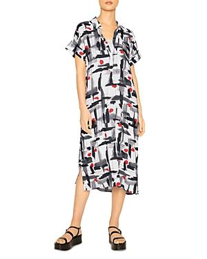 Henley Midi Abstract Print Dress