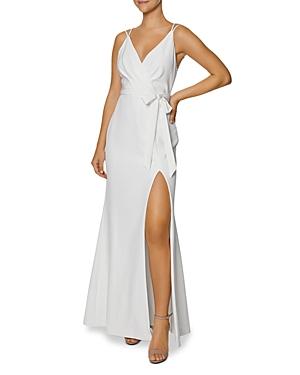 Faux Wrap Tie Front Gown