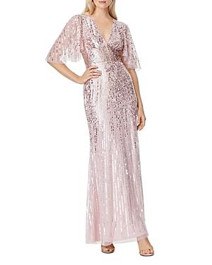 V-Neck Flutter Sleeve Sequin Gown