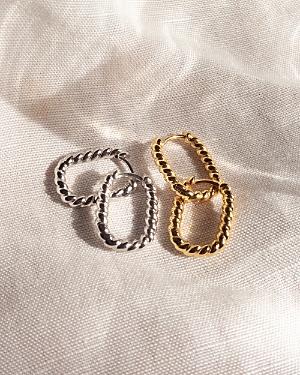 Twisted Rope Oval Huggie Hoop Earrings in Gold Tone