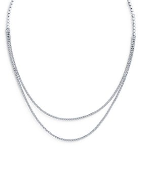 Bloomingdale's - Diamond Double Row Tennis Necklace in 14K White Gold, 5.0 ct. t.w. - 100% Exclusive