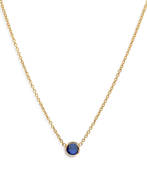 Zoe Lev 14K Yellow Gold Blue Sapphire Birthstone Solitaire Pendant Necklace, 16-18